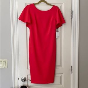 Calvin Klein fitted dress with cape sleeves